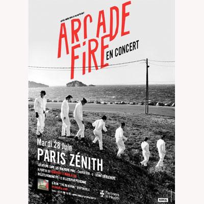 ARCADE FIRE AFFICHE ZENITH DE PARIS LE 28 JUIN