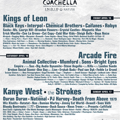 ARCADE FIRE, KINGS OF LEON? THE STROKES, INTERPOL, KANYE WEST... : REVELATION DU LINE UP DU FESTIVAL COACHELLA 2011