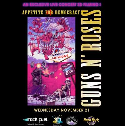 GUNS N' ROSES POCHETTE DVD LIVE EN 3D APPETITE FOR DEMOCRACY