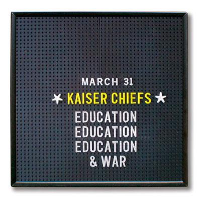 KAISER CHIEFS POCHETTE NOUVEL ALBUM EDUCATION, EDUCATION, EDUCATION & WAR