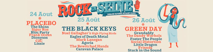 ROCK EN SEINE 2012 : DIONYSOS, THE DANDY WARHOLS, GRANDADDY ET BLOC PARTY ANNONCES