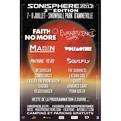SONISPHERE FRANCE AFFICHE 2012