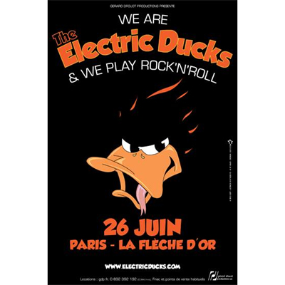 AFFICHE THE ELECTRIC DUCKS CONCERT 26 JUIN 2012 FLECHE D'OR