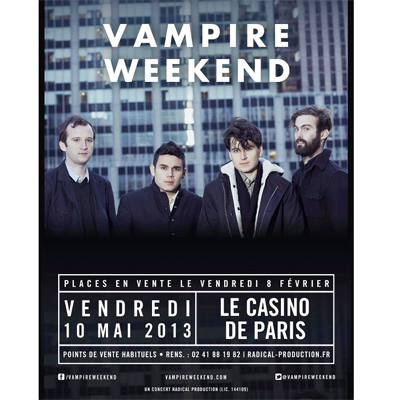 FLYER VAMPIRE WEEKEND CONCERT AU CASINO DE PARIS LE 10 MAI